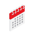 calendar icon in isometric style isolated vector image vector image