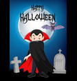 cartoon vampire character with halloween backgroun vector image vector image