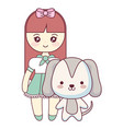 cute and little dog with girl vector image