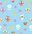 cute kittens clouds and flowers seamless pattern vector image