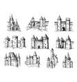 drawing castles medieval buildings old gothic vector image vector image