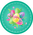 easter circular card with eggs vector image