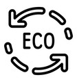 eco recycle arrow icon outline style vector image