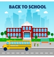 Education Concept School Building and School Bus vector image