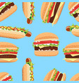 fast food seamless pattern hamburger and hot dog vector image