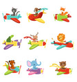 flat set with cute animals flying in vector image vector image