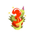 funny snake in party hat and number three happy vector image vector image