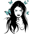 Girl with butterflies vector | Price: 1 Credit (USD $1)