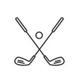 golf ball and clubs linear icon vector image vector image