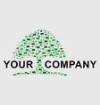 green tree pixel logo vector image vector image