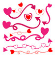 heart with arrow and line on white background vector image