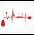 heartbeat with mouse and laptop stock vector image