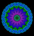 illuminated colorful floral mandala pattern neon vector image