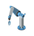 isometric blue robotic arm vector image vector image