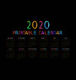 kids 2020 year calendar concept banner vector image