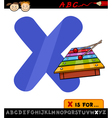letter x with xylophone cartoon vector image vector image