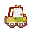 line color kawaii smile tractor vehicle transport vector image vector image