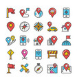 maps and navigation colored icons set 5 vector image
