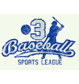 Mid blue baseball distressed print with player vector image vector image