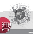 Paper and hand drawn shopping cart emblem with vector image vector image