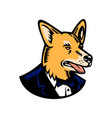 pembroke welsh corgi wearing tuxedo woodcut color vector image