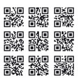 qr code set square product barcode label vector image vector image
