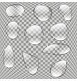 Realistic Water Drops Set On Transparent vector image vector image