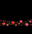 red and pink hearts hang on garlands on black vector image vector image