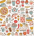 Seamless food sketch pattern vector image vector image