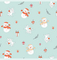 seamless pattern merry christmas rabbits vector image