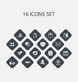 set of 16 editable training icons includes vector image vector image