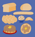 set of different bread and breakfast foods vector image