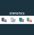 statistics icon set four elements in diferent vector image