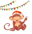Sweet monkey with flags and hat for 2016 New Year vector image
