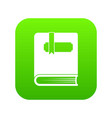 thick book with bookmark icon digital green vector image vector image