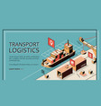 transport logistics ship port delivery service vector image vector image