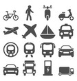 transportation travels icons set vector image vector image