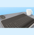 workplace with keyboard computer mouse and cup vector image