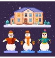 Set of snowmen in different styles vector image