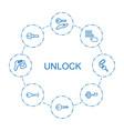 8 unlock icons vector image vector image