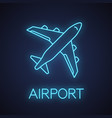 airplane neon light icon vector image vector image