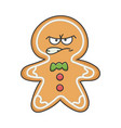angry christmas holiday ginger bread cookie vector image vector image