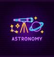 astronomy neon label vector image vector image