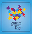 autism awareness day colorful puzzle heart shape vector image vector image