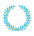 blue laurel wreath with golden berries vintage vector image