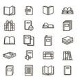 book signs black thin line icon set vector image vector image