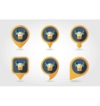 Bull mapping pins icons vector image vector image