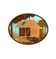 cajun house and gator oval wpa retro vector image vector image