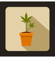 Cannabis plant in a pot icon flat style vector image vector image