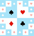 card suits blue red white chess board background vector image vector image